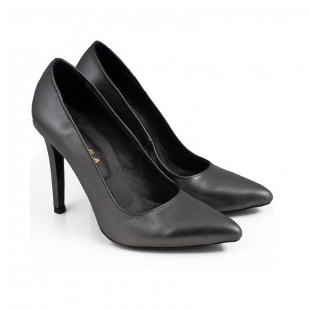 Pantofi Stiletto din piele naturala gri nchis platina2