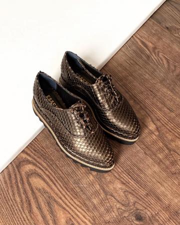 Pantofi oxford, din piele metalizata cu textura0