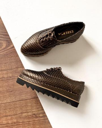 Pantofi oxford, din piele metalizata cu textura1