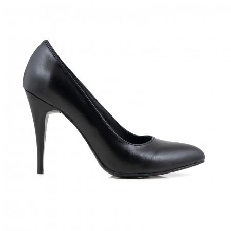 Pantofi cu varf semiascutit, din piele naturala neagra [0]
