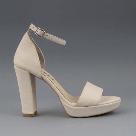 Sandale din piele naturala alb-unt, cu bareta deasupra gleznei, si toc gros0