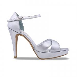 Sandale cu platforma, din piele laminata argintie0
