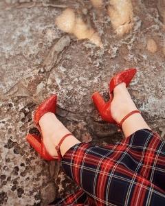 Pantofi din piele naturala rosu croco1