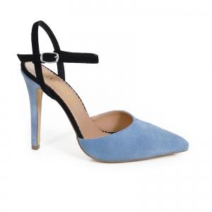 Pantofi stiletto cu barete, din piele intoarsa albastra si neagra0