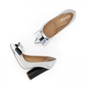 Pantofi Stiletto cu funda, din piele lacuita neagra si argintie2