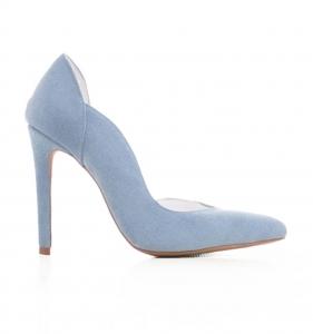 Pantofi stiletto cu decupaj interior, din piele intoarsa albastra0