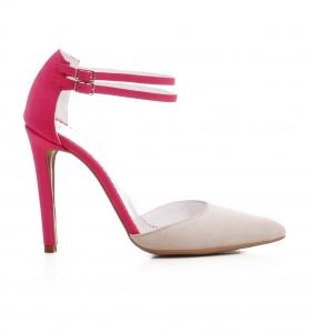 Pantofi stiletto din piele roz si crem [0]