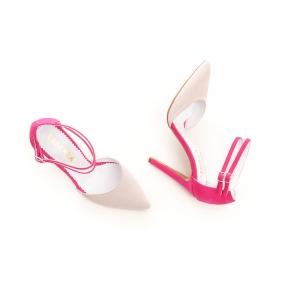 Pantofi stiletto din piele roz si crem [2]