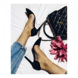 Pantofi Stiletto, din piele intoarsa neagra [0]