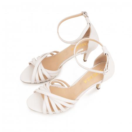 Sandale cu barete, din piele naturala, alb unt.3