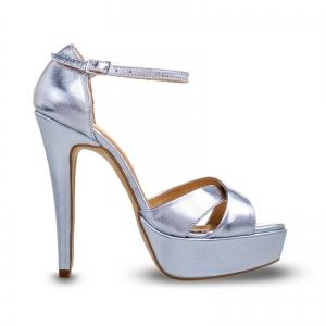 Sandale din piele argintie, cu toc stiletto si platforma0