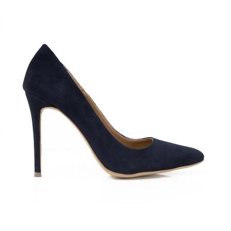 Pantofi Stiletto din piele intoarsa albastru inchis0