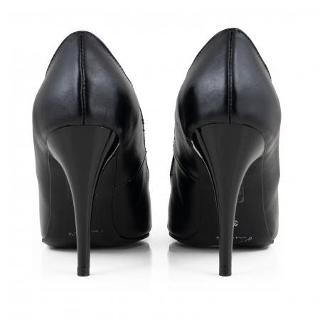 Pantofi cu varf semiascutit, din piele naturala neagra [3]