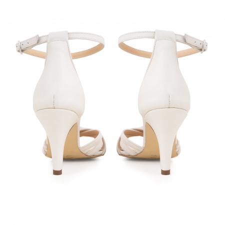 Sandale cu barete, din piele naturala, alb unt.5
