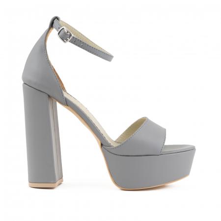 Sandale din piele naturala gri, cu toc gros patrat si platforma [0]
