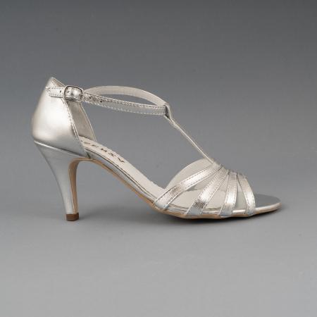 Sandale cu barete, din piele laminata argintie0