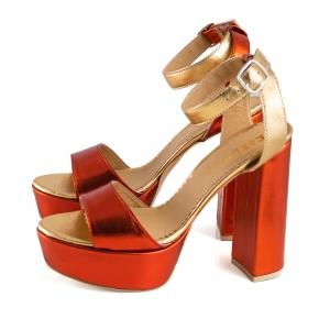 Sandale din piele laminata portocaliu intens si auriu, cu toc gros patrat si platforma [1]