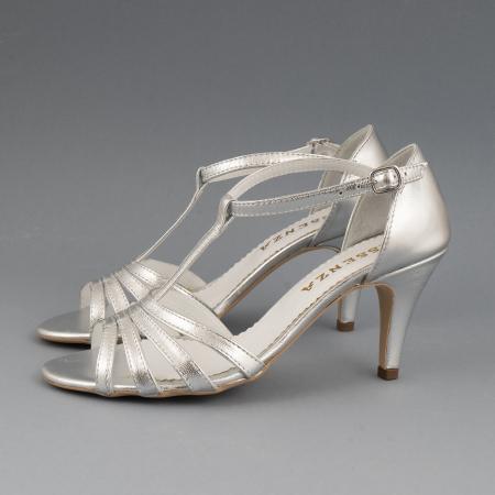 Sandale cu barete, din piele laminata argintie1