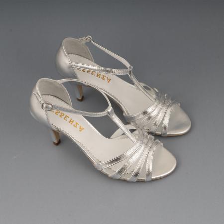 Sandale cu barete, din piele laminata argintie2