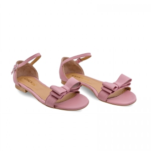 Sandale cu talpa joasa, din piele nappa roz, cu fundite1