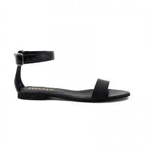 Sandale cu talpa joasa, din piele neagra cu presaj crocodil0