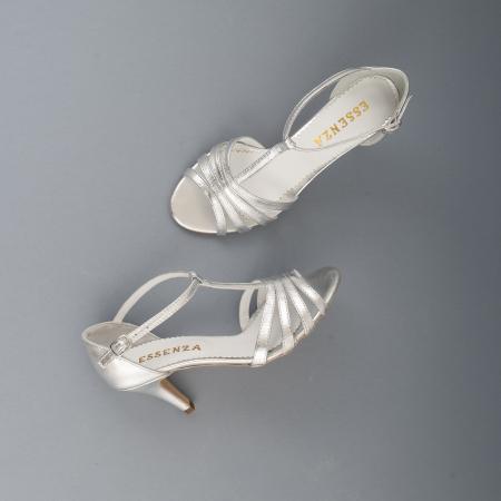 Sandale cu barete, din piele laminata argintie4