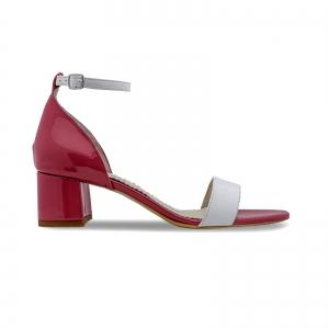 Sandale din piele lacuita alba si rosu visie0