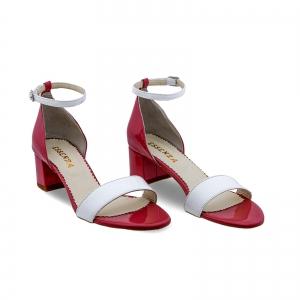 Sandale din piele lacuita alba si rosu visie1