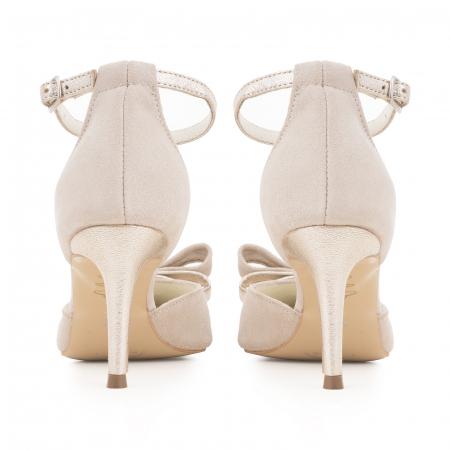 Pantofi stiletto cu funda dubla, din piele naturala bej si auriu pal4