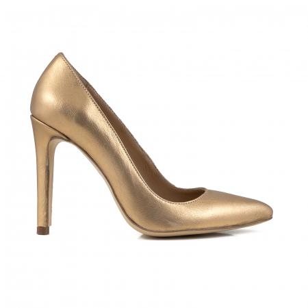 Pantofi Stiletto din piele laminata aurie0