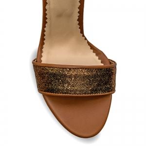 Sandale cu toc gros, din piele naturala maron si aurie [3]