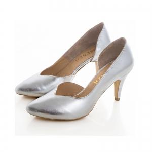 Pantofi stiletto din piele laminata argintie, cu decupaj interior1