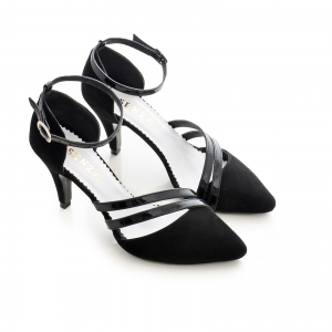 Pantofi din piele intoarsa neagra, cu decupaj si barete din piele lacuita neagra2