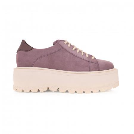 Pantofi cu talpă groasă, realizati din piele naturala intoarsa, mov lavanda0
