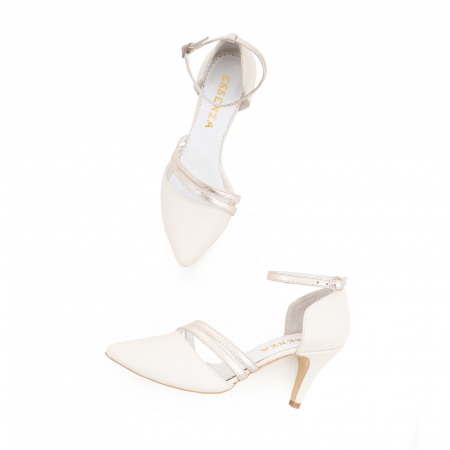 Pantofi din piele naturala alb unt, cu decupaj si barete din piele aurie [2]