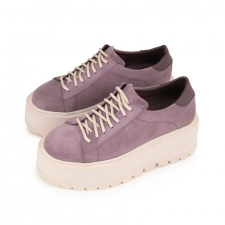 Pantofi cu talpă groasă, realizati din piele naturala intoarsa, mov lavanda2