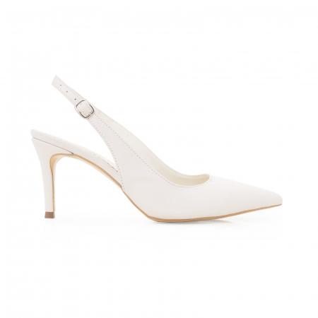 Pantofi stiletto decupati din piele naturala alb unt0