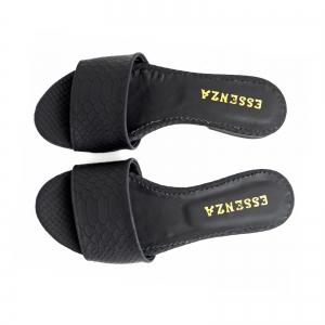 Flip flops din piele naturala neagra croco2