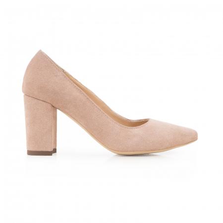 Pantofi cu toc patrat, din piele naturala intoarsa, beige [0]