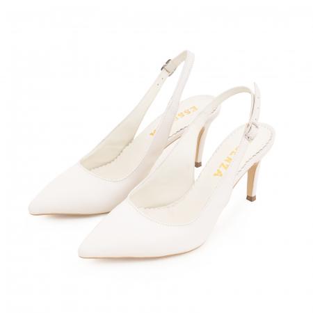 Pantofi stiletto decupati din piele naturala alb unt2