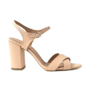 Sandale din piele naturala nude, cu toc patrat0