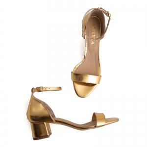 Sandale din piele laminata aurie, cu toc gros3