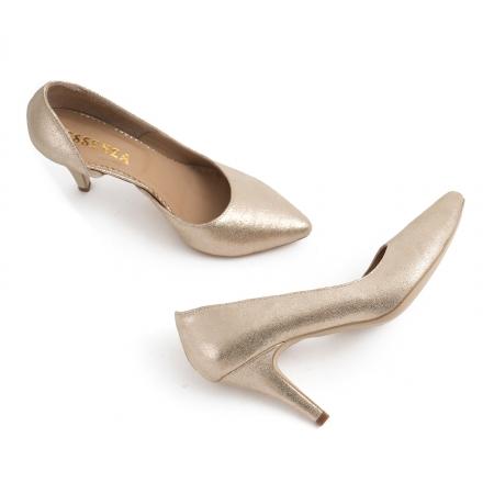 Pantofi stiletto din piele laminata, auriu texturat, cu decupaj interior3