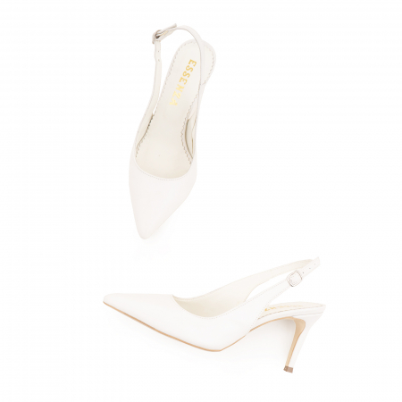 Pantofi stiletto decupati din piele naturala alb unt3