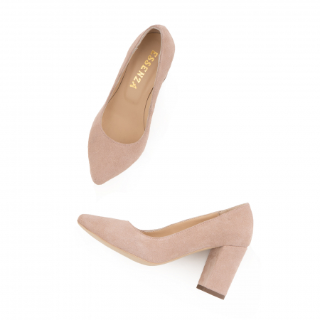 Pantofi cu toc patrat, din piele naturala intoarsa, beige [2]