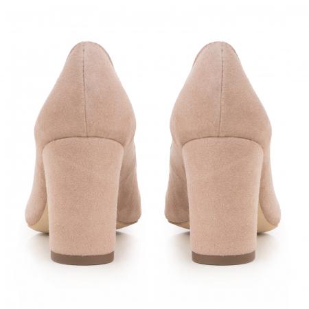 Pantofi cu toc patrat, din piele naturala intoarsa, beige [3]