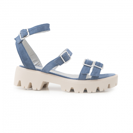 Sandale cu talpa groasa si barete cu catarame, din piele intoarsa albastru seren0
