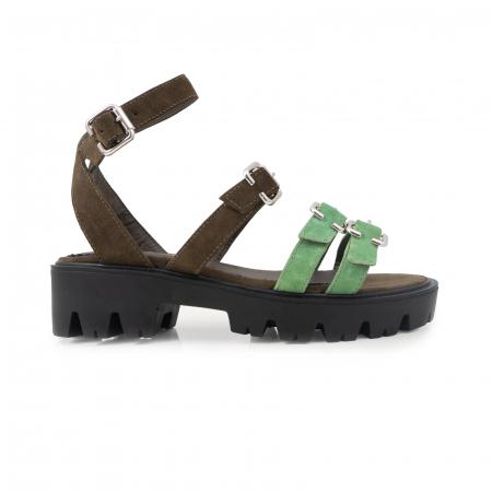 Sandale cu talpa groasa si barete cu catarame, din piele cachi si verde menta0