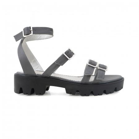 Sandale cu talpa groasa si barete cu catarame, din piele gri [0]