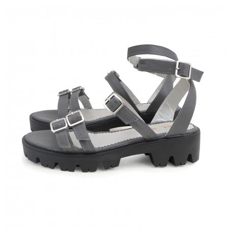 Sandale cu talpa groasa si barete cu catarame, din piele gri [1]